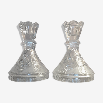 Paire de bougeoirs en cristal vintage