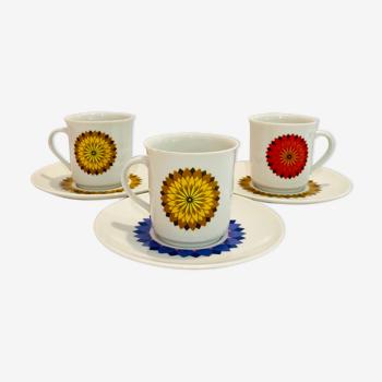 3 tasses a café pop des années 70  winterling ruslau bavaria