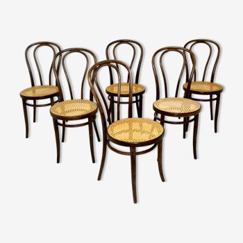 """Set de 6 chaises """"bistrot"""", ZPM Radomsko, Pologne, 1930"""