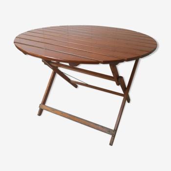 Table de jardin ronde vintage en bois