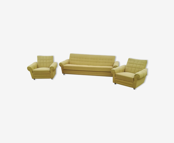 Salon canapé et 2 fauteuils vintage citron vert