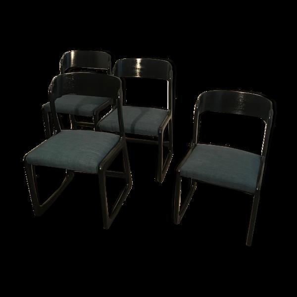 Set de 4 chaises traîneaux Baumann noir