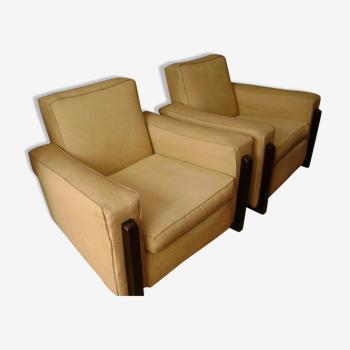 Paire de fauteuils des années 1970 coton perlé bouclette jaune
