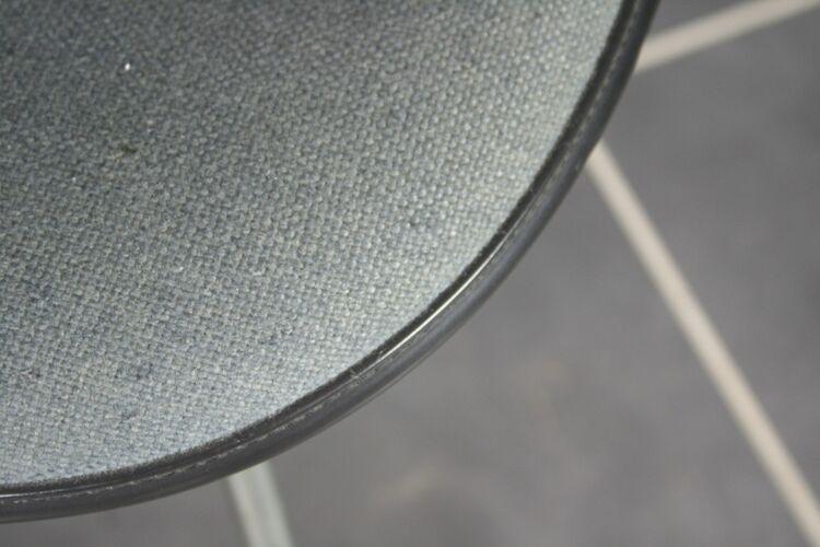 Chaise DSX fibre noire tissu gris base zinguée Eames Herman Miller vintage