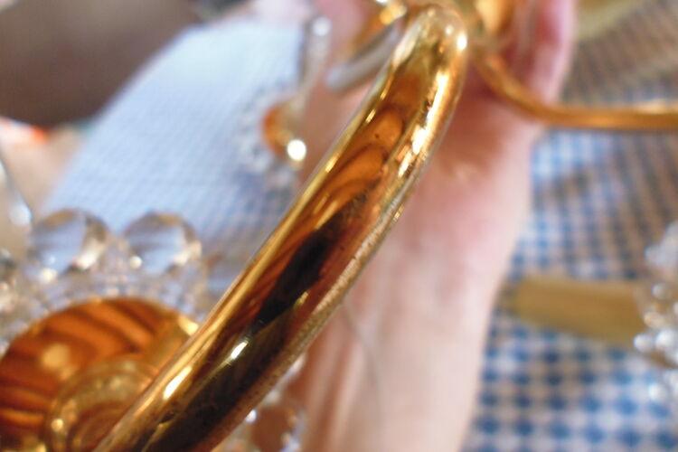 Lustre 5 feux laiton doré et verre pointe diamant années 70