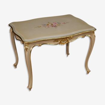 Table basse italienne laquée, dorée et peinte