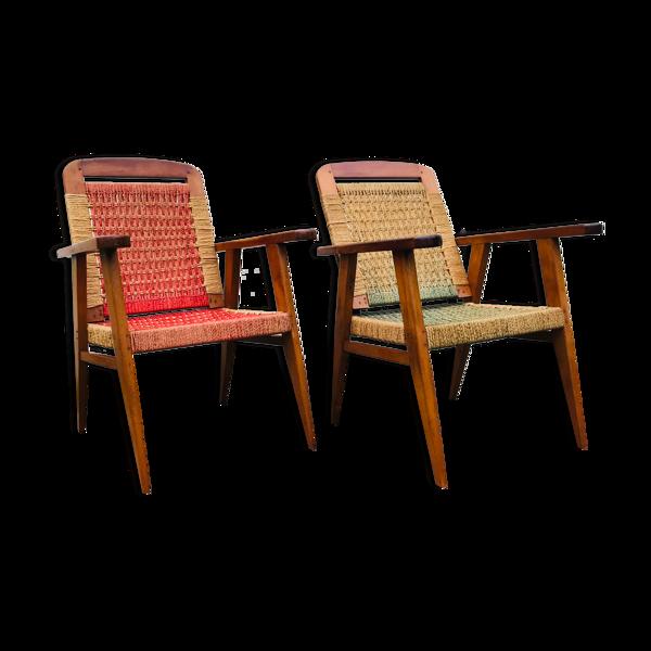 Paire de fauteuils vintage 1940 en acajou et corde tressée