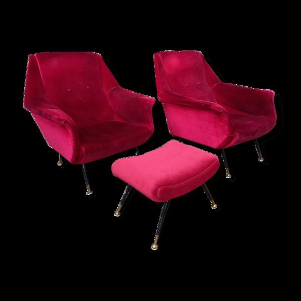 Selency Paire de fauteuils italiens et ottoman