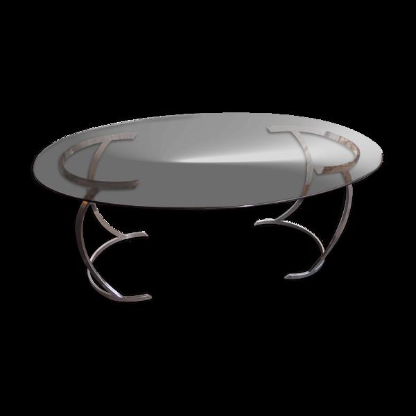 Table ovale verre et chrome 70 design