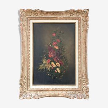 Tableau ancien gerbe de fleurs