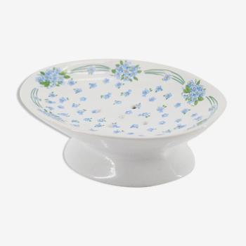 Porte savon fleurs myosotis en céramique