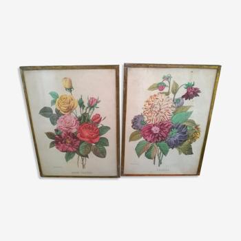 """Paire de cadres """"aux bouquets de fleurs"""""""