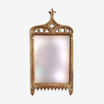 Miroir néo-gothique en bois doré 52x26 cm