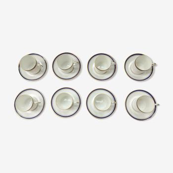 Tasses à café et soucoupes Haviland collection bleu nuit - porcelaine de limoges
