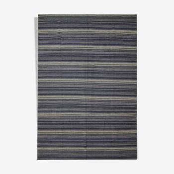 Modern Blue Wool Kilim Area Rug Handmade Flat-Woven Rug- 183x275cm
