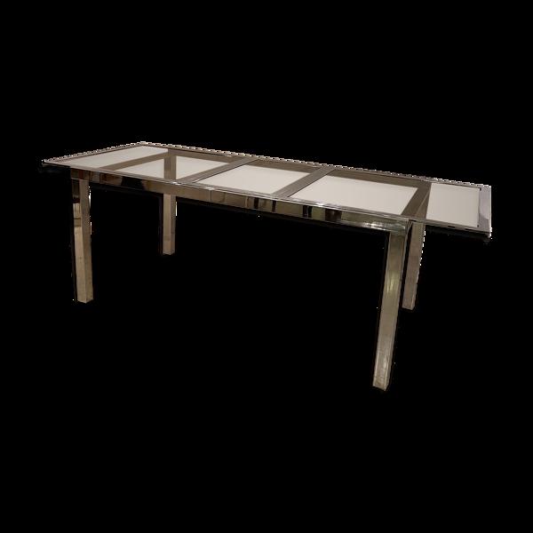 Selency Table à manger en métal avec verre fumé sur le dessus des années 1970