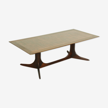 Rosewood danish copper coffee table 1960