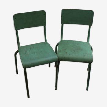 Paire de chaises d'école