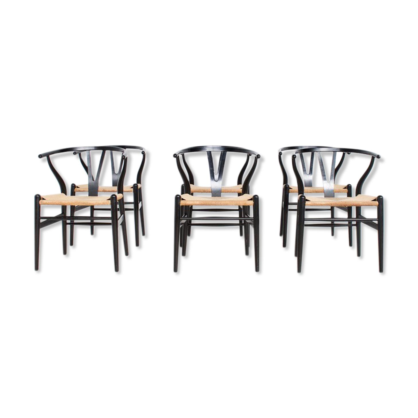 6 chaises Hans Wegner CH24 Wishbone Carl Hansen & Son années 60