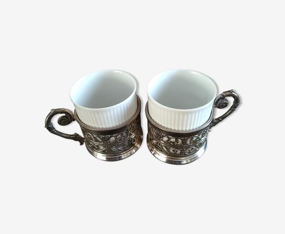 Duo tasse à café métal argenté