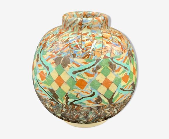 Vase boule mosaïque Gerbino 10, Vallauris