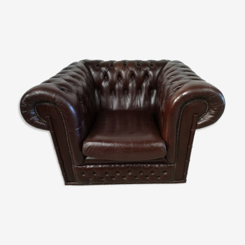 Armchair chesterfield leather brown bamboo