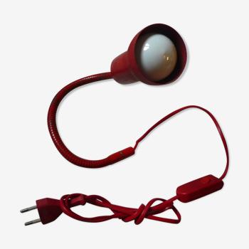 """Lampe en métal rouge articulée """"serpent"""" vintage 70s"""