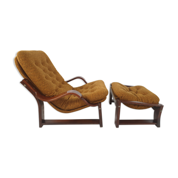 Fauteuil and repose-pied vintage, années 1970