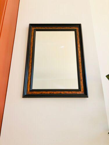 Miroir mural ancien 72 x 52 cm en bois noir et faux acajou