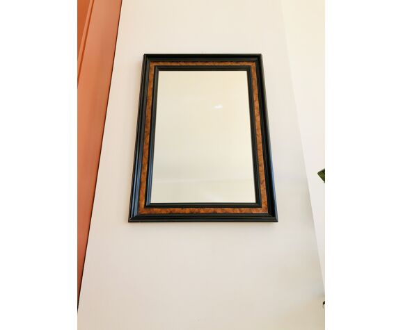 Old wall mirror 72 x 52 cm in black wood and faux mahogany