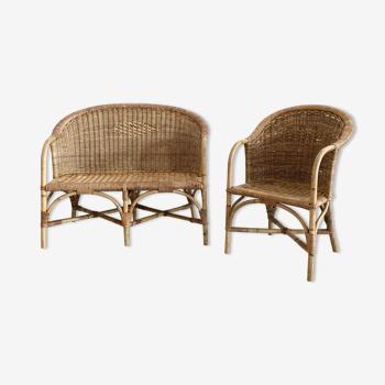 Children's rattan sofa and armchair set