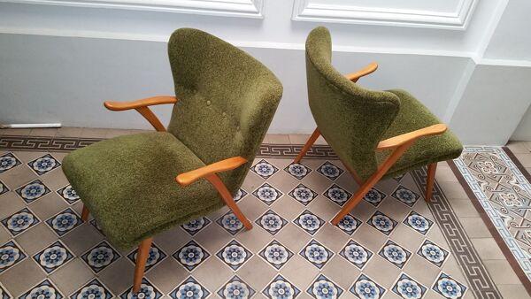 Paire de fauteuils WING Zig Zag cocktail vintage année 50 60