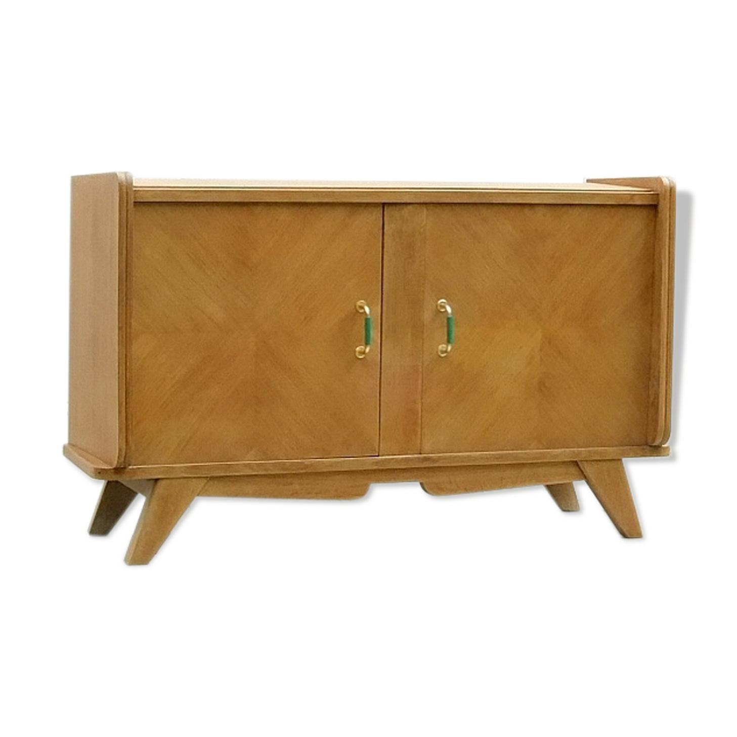 Buffet bas étroit meuble tv vintage bois pieds compas années 1950