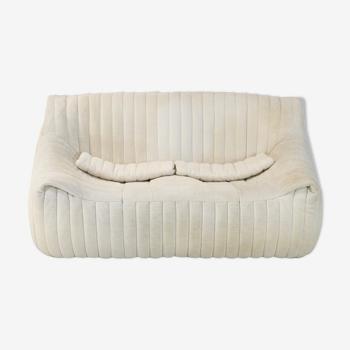 Sofa by Annie Hiéronimus, Cinna edition, Sandra model, ivory velvet, circa 1975
