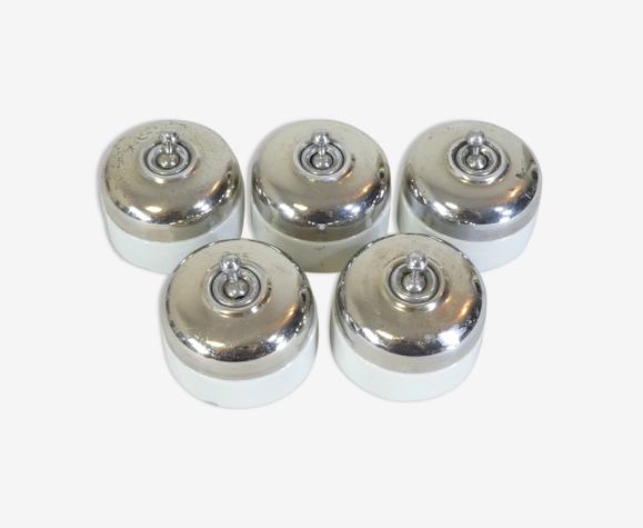 Interrupteurs en porcelaine et métal chromé vintage industriel