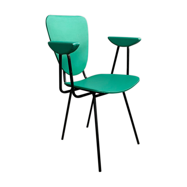 Chaise à manger en vinyle vert et acier, vers 1950