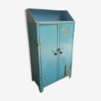 Old industrial cabinet steel light blue