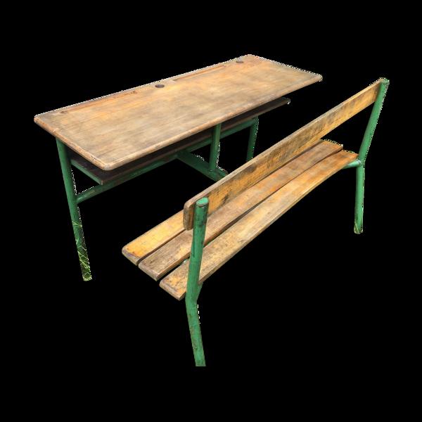 Ancien bureau écolier pupitre double metal vert