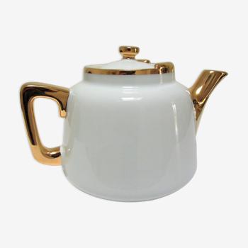 Théière porcelaine blanc et or aluminite frugier limoges vintage