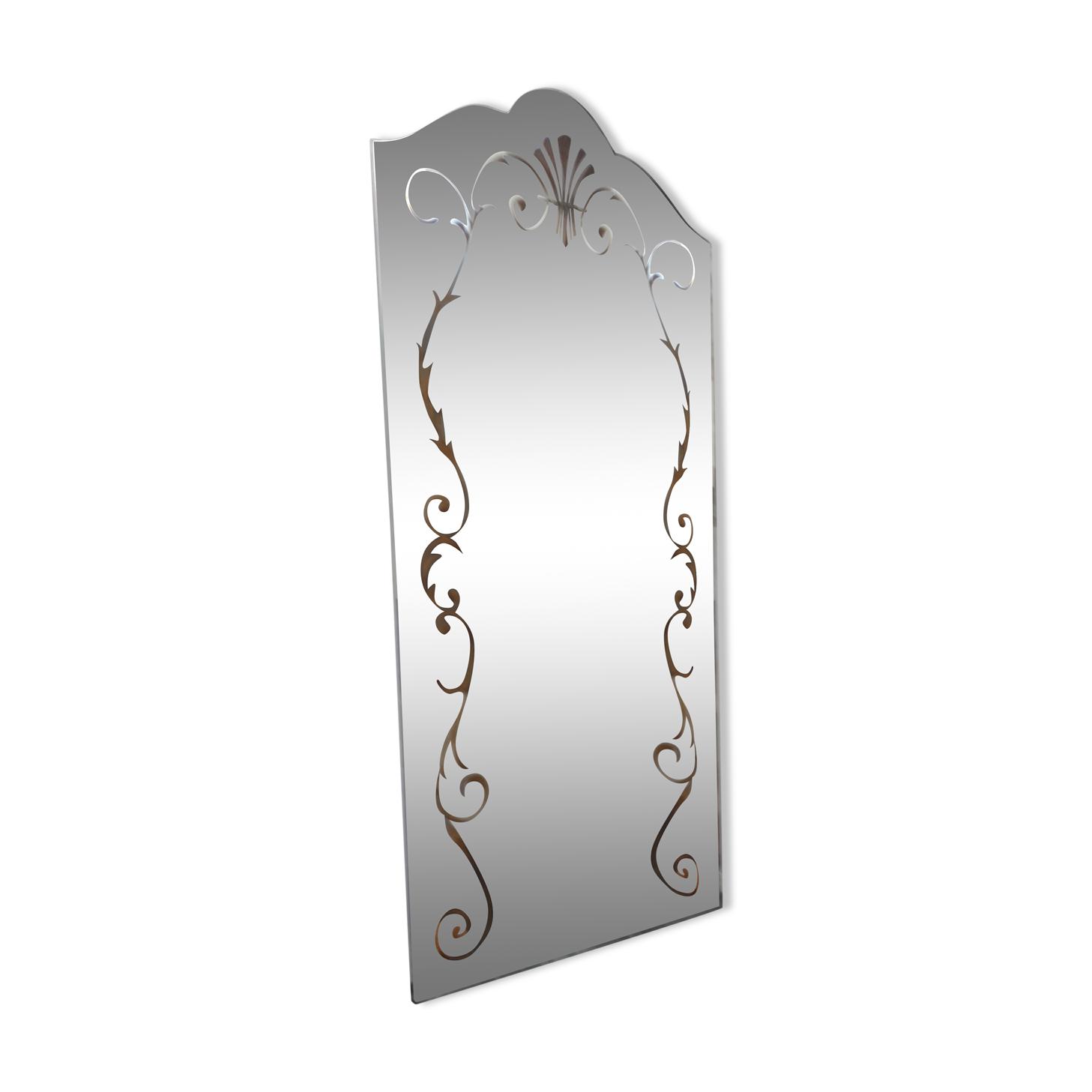 Miroir églomisé sur console marbre et fer forgé vintage 1950