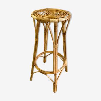 Tabouret de bar en rotin  et bambou années 60