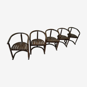 Lot de 5 fauteuils tonneau bois courbé