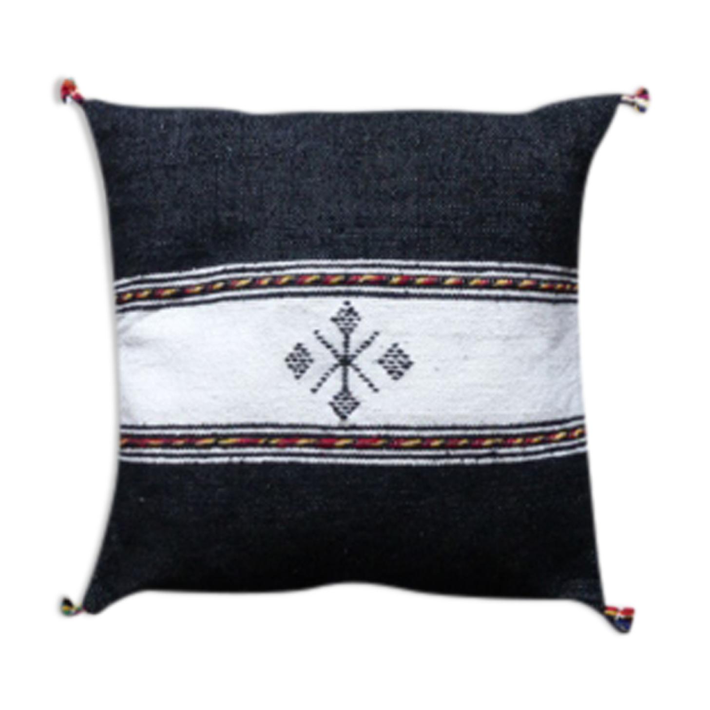 Coussin berbère marocain noir et blanc