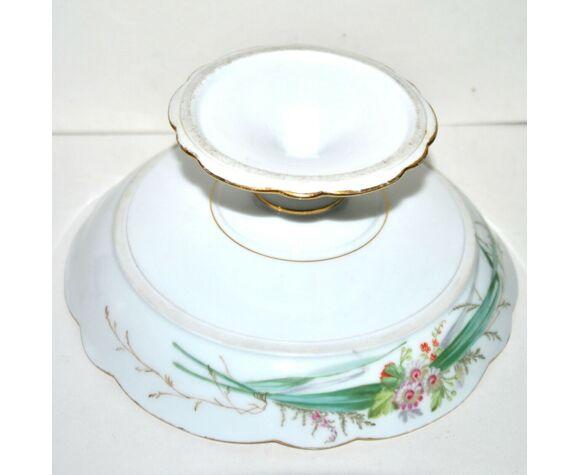 Compotier coupe sur pied en porcelaine 19e siècle
