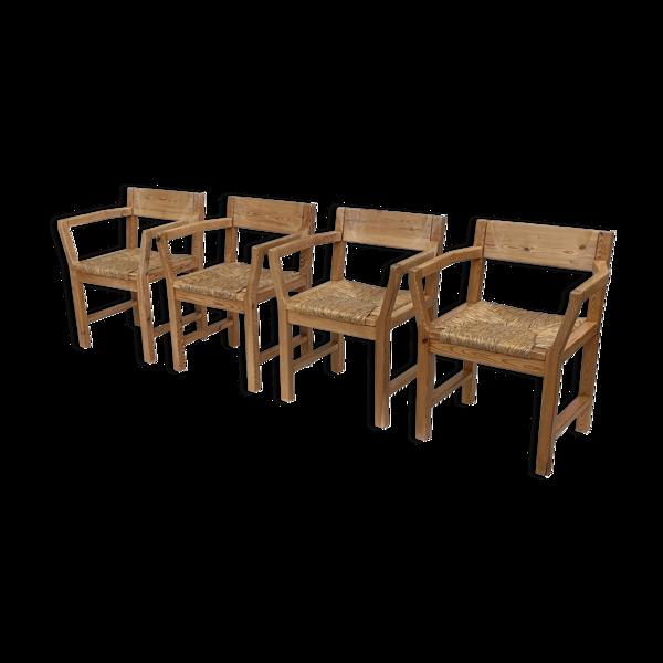 Ensemble de quatre fauteuils brutalistes danois par TP-Design pour GM Møbler