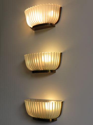 Appliques italiennes en verre Seguso lampes murales des années 1940
