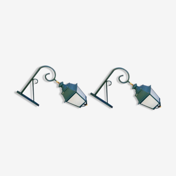 Pair of antique lanterns on its gallows