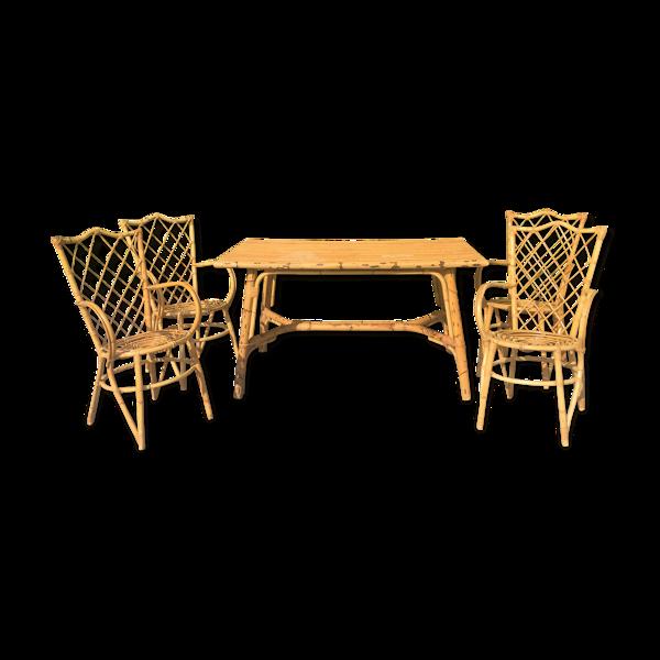 Selency Table et 4 fauteuils rotin osier