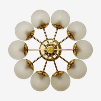 Mid Century Modern brass and glass Sputnik chandelier by Kaiser Leuchten