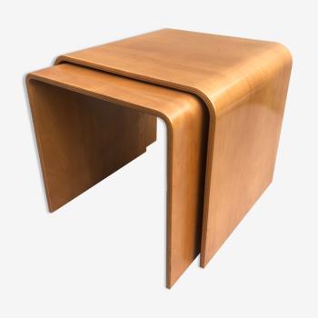 Design bent wood nesting coffee tables beech scandinavian set of 2